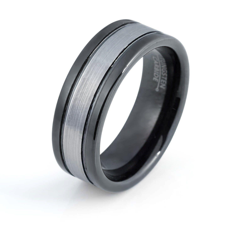 Black Tungsten Ring Brushed Black Wedding Band 8mm Tungsten Carbide Mens Wedding Band Engagement Ring For Men Anniversary Man Wedding Band