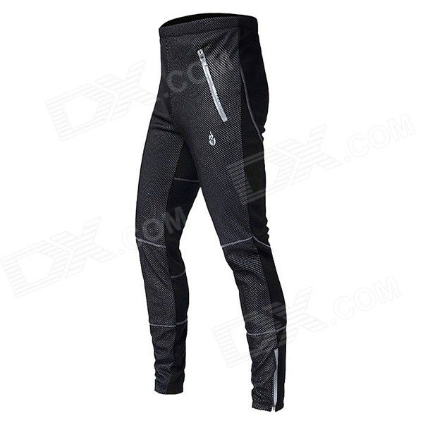 WOLFBIKE BC116-0XL Men's Outdoor Sports Warm Fleece Long Cycling Pants - Black (XL) From 45,- for Euro 31,95