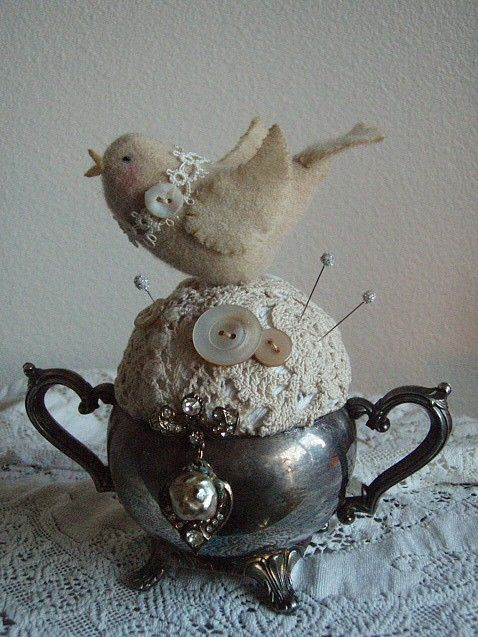 Vintage Pincushion — (478x637) May be able to do this with my Noritake sugar bowl I've not used in 30 years...