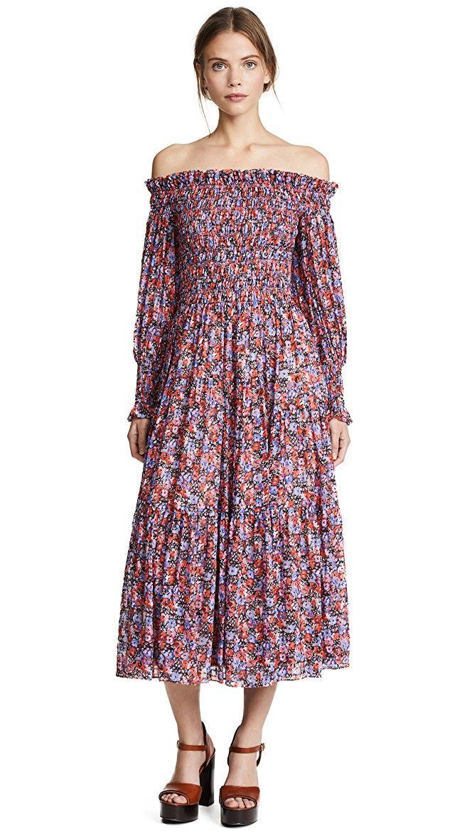 ac4046e48d15 Rebecca Taylor Off Shoulder Cosmic Flower Dress
