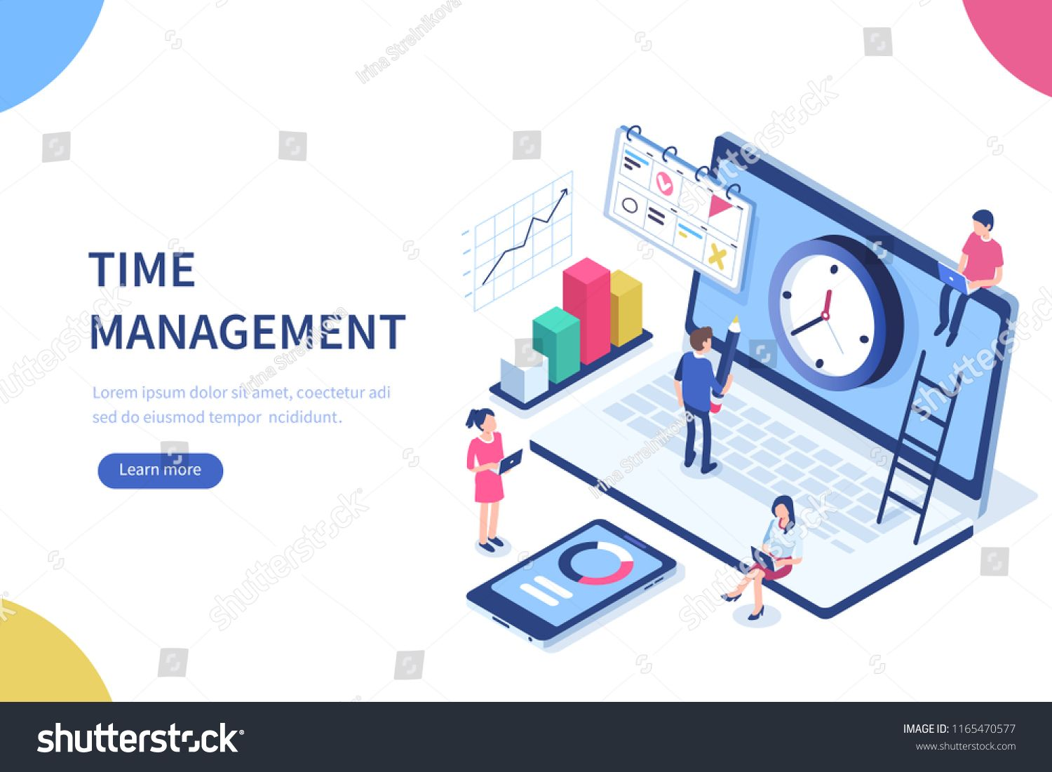 Time Management Banner With Character And Text Place Can Use For Web Banner Infographics Hero Images Flat Isome Isometric Illustration Web Banner Isometric