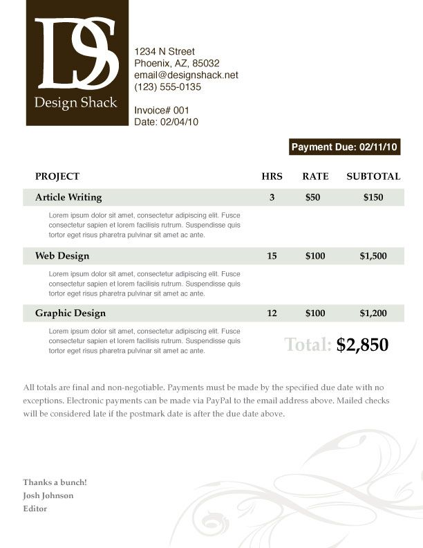 graphic design invoice template pdf – notators, Invoice templates