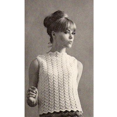 Ripple Motif Crocheted Shell Top Pattern Small Medium Large