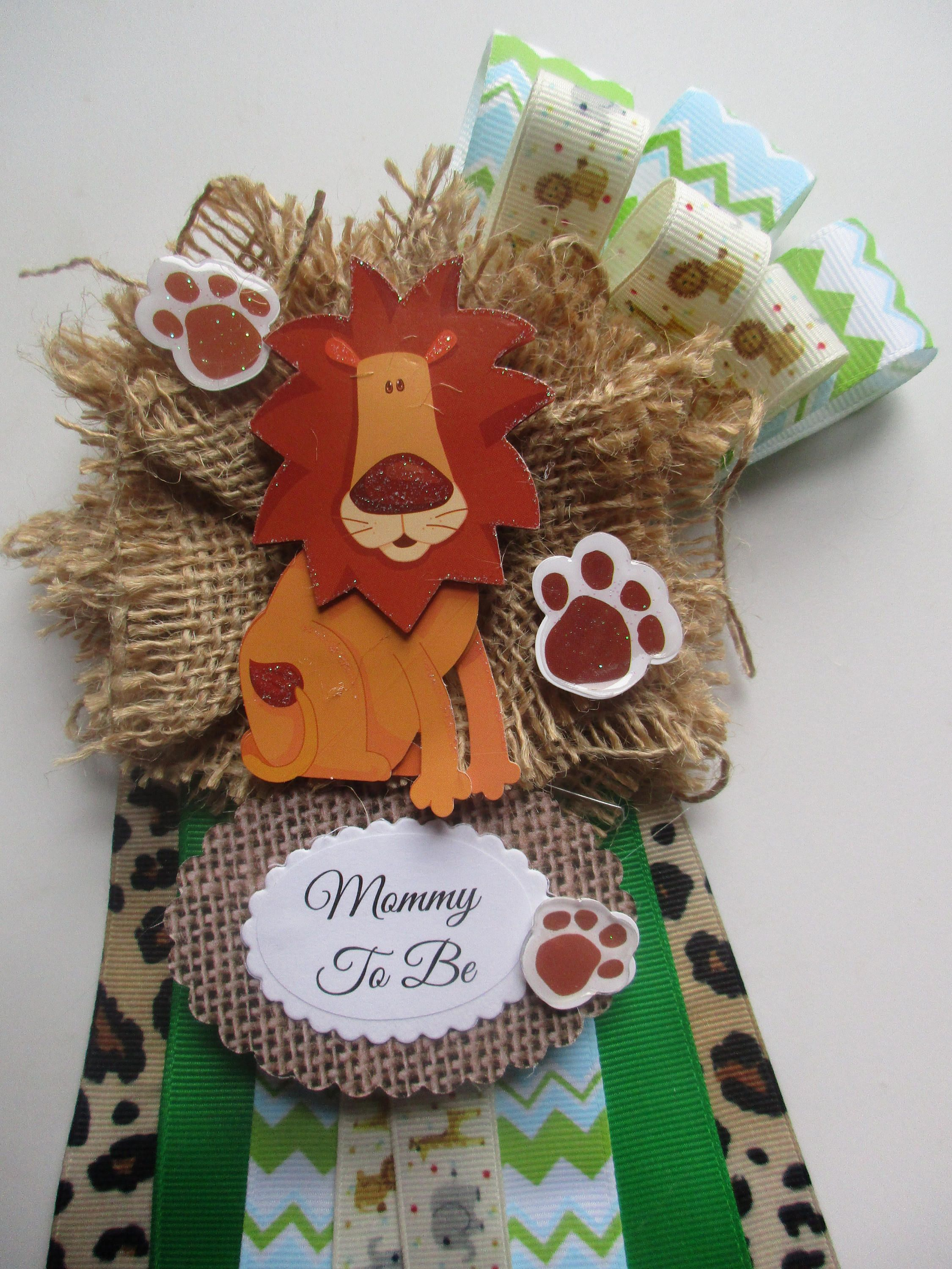 Lion Safari Baby Shower Corsage Lion Baby Shower Corsage Mommy