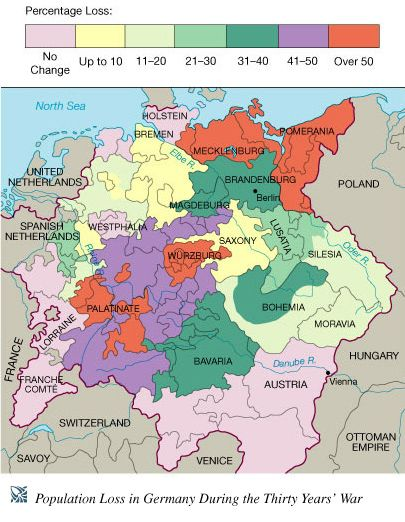 Map Of Germany 30 Years War.Population Loss During Thirty Years War 30 Year War
