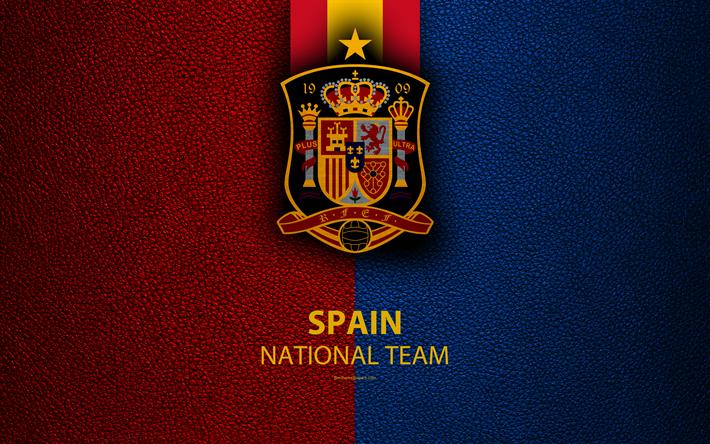 Download Wallpapers Spain National Football Team 4k Leather Texture Emblem Logo Football Spain Europe Com Imagens Times De Futebol Futebol De Botao Futebol