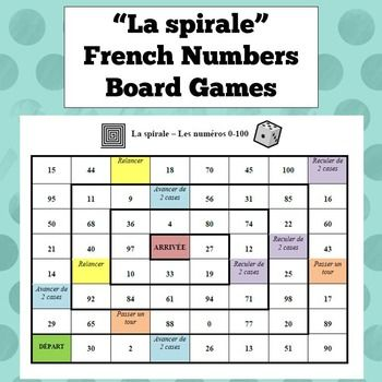 French Numbers Board Game French Class Stuff French