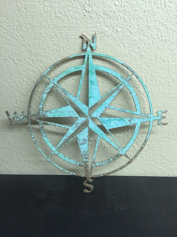 "Nautical COMPASS ROSE  22/""WALL ART DECOR copper//bronze plated"