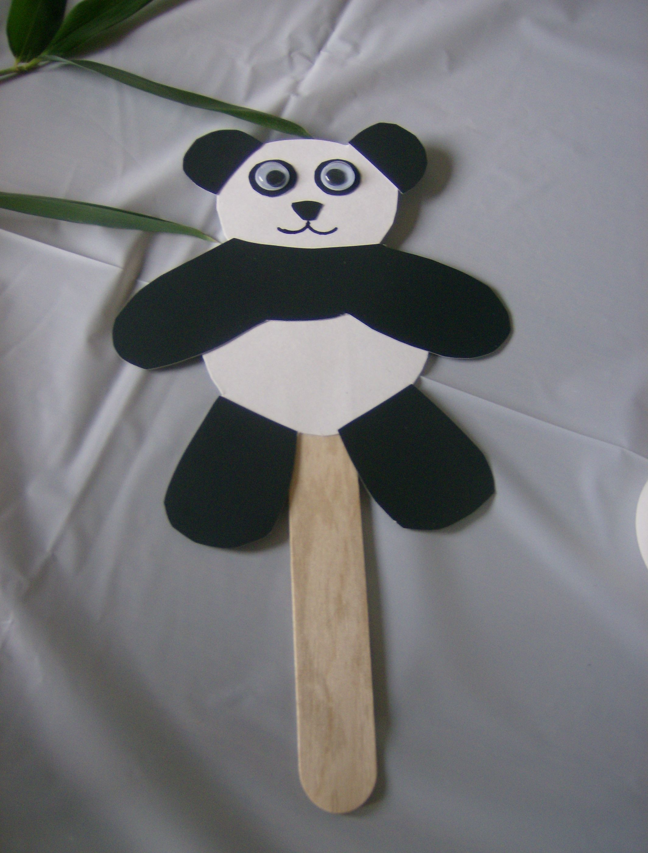 Panda puppet had all pieces cut out so the children just had to