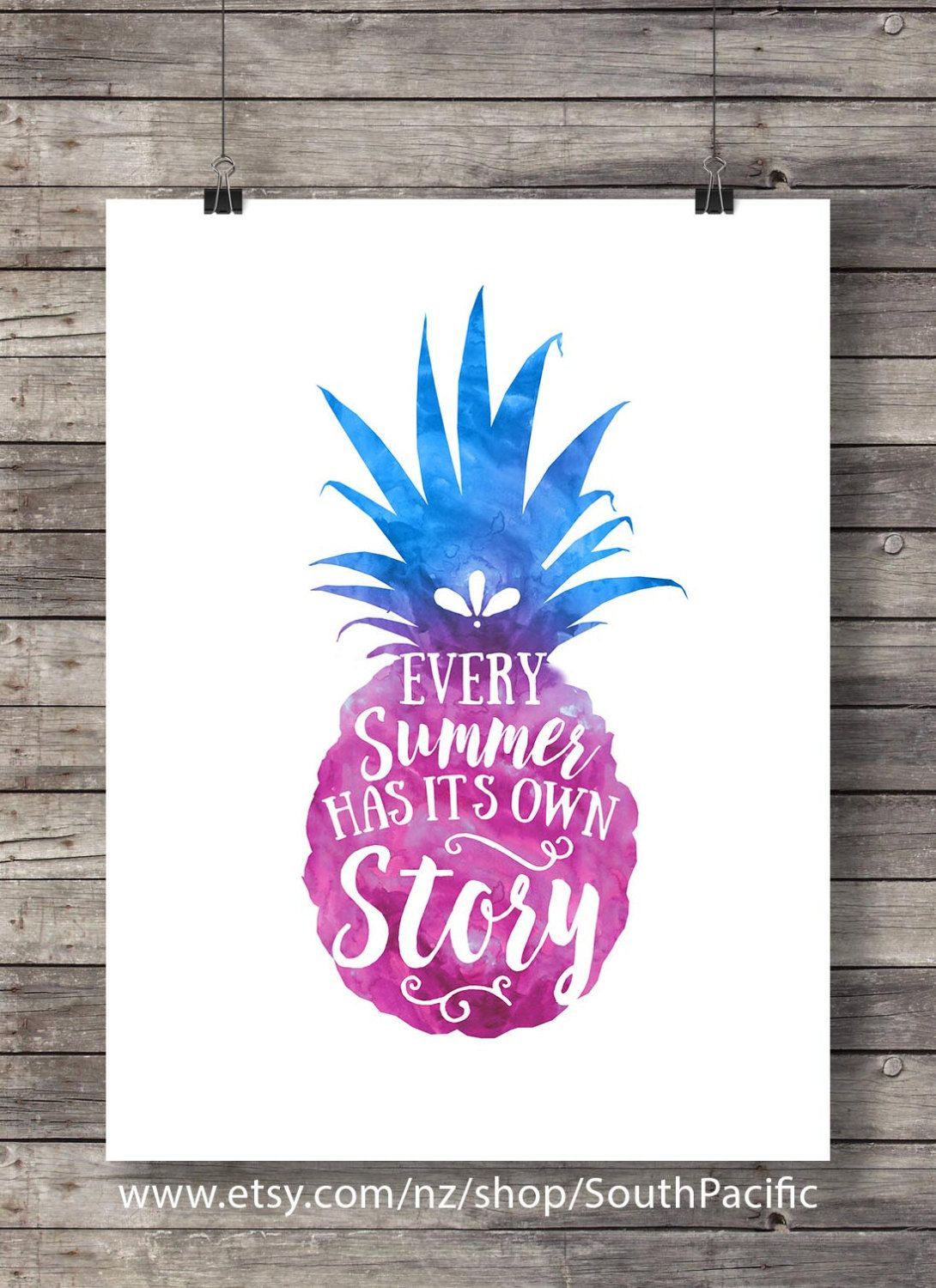 Every Summer Has Its Own Story | Watercolor Art Print | Printable  Calligraphy Wall Art |
