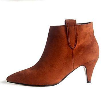 Zapatos de mujer – Tacón Bajo – Puntiagudos – Botas – Casual – Piel – Negro / Marrón 2016 – $39.99