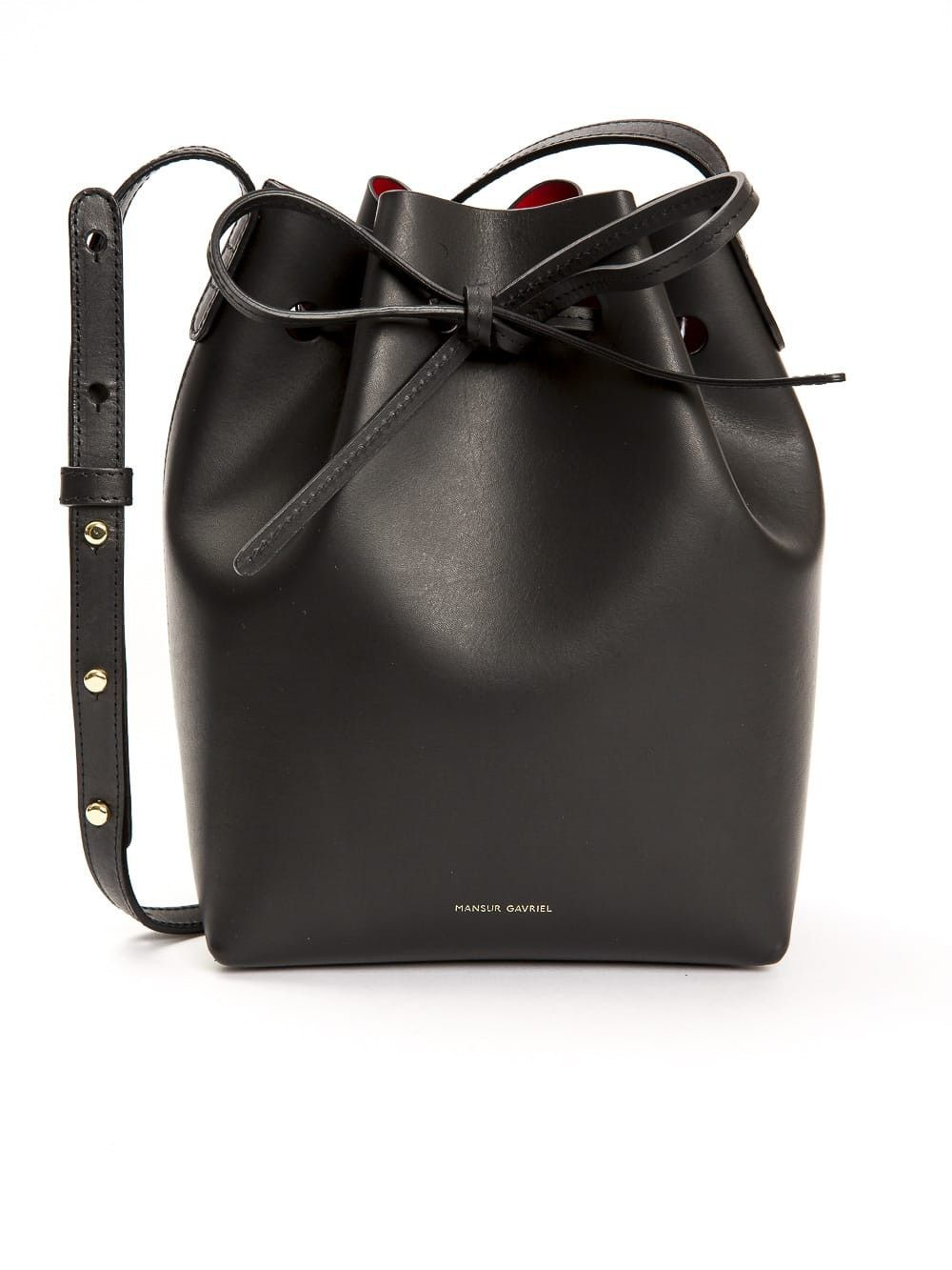 de7dfcbb9ee MANSUR GAVRIEL Mini Mini Saffiano Leather Bucket Bag in Black | rose ...