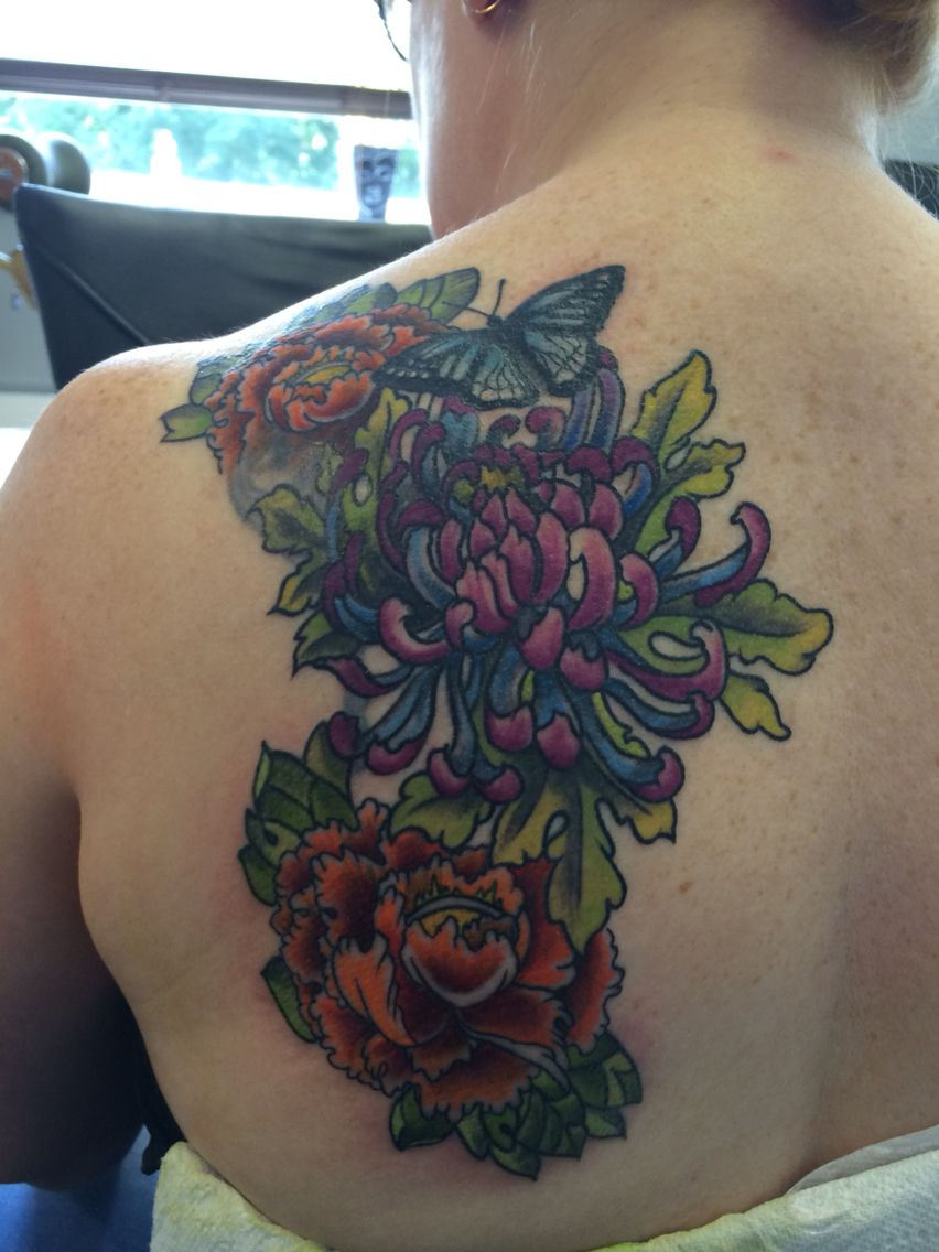 47dac353b Japanese flower tattoo with butterfly and cover up in progress by Travis  Allen Twisted Tattoo Yaxley .