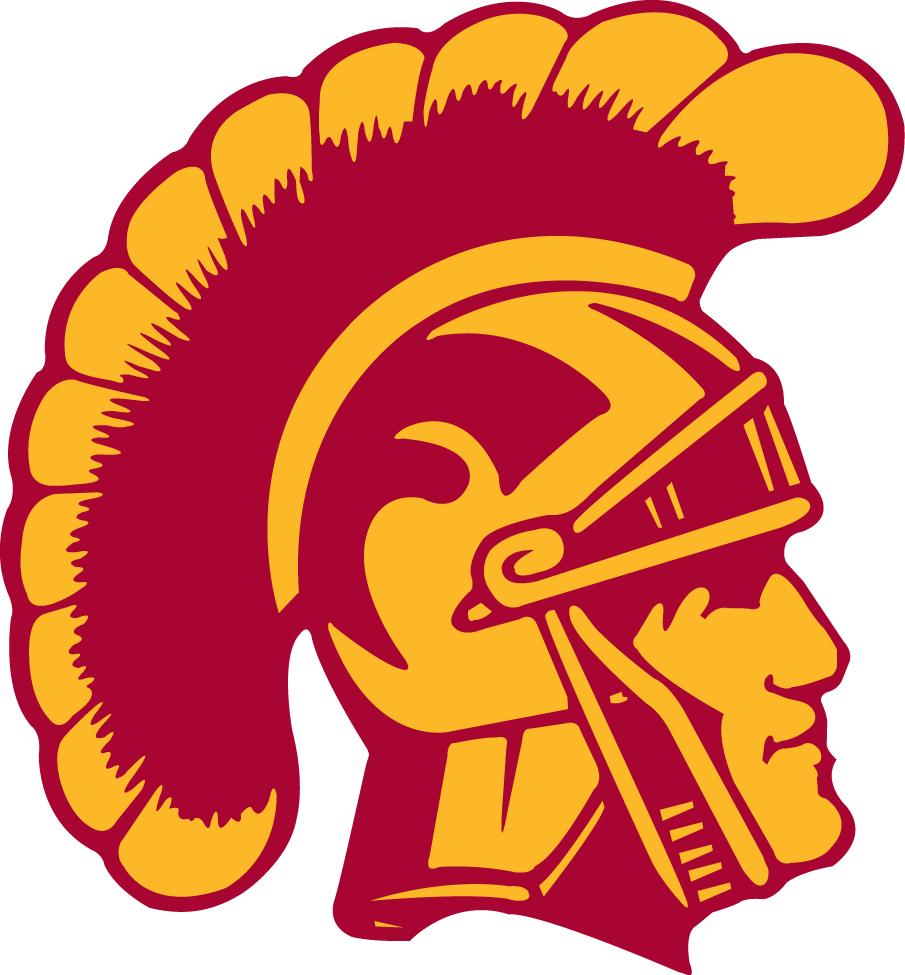 southern california trojans primary logo 1972 yellow and red rh pinterest com trojan head download logo blue trojan head logo