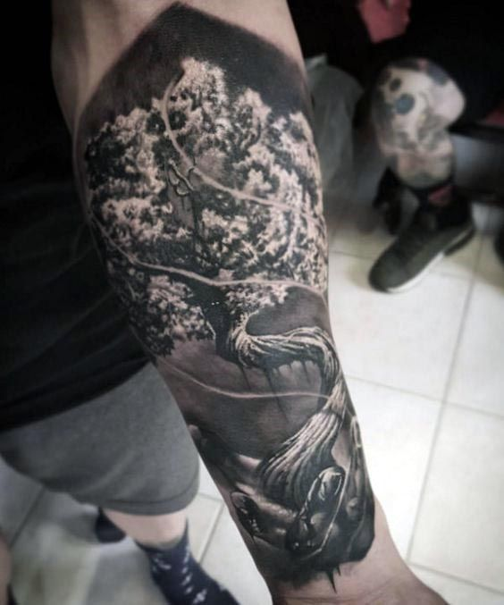 Forearm sleeve tree of life realistic 3d mens tattoo for Realistic tree tattoos