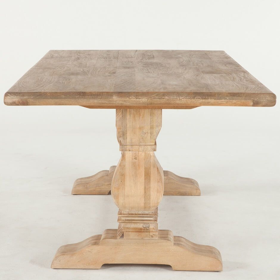 French Farmhouse Solid Wood Trestle Dining Table 108 Trestle