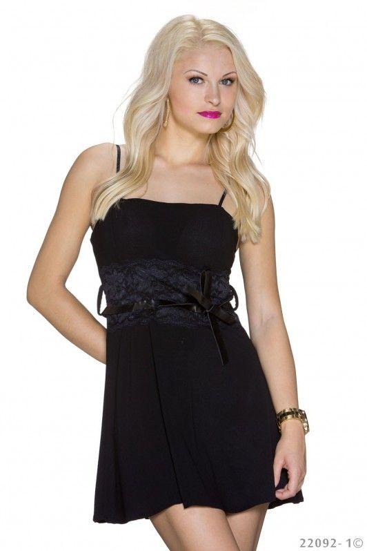 7112e04b750a4a Zwart mini jurkje met spaghetti bandjes en kanten effecten