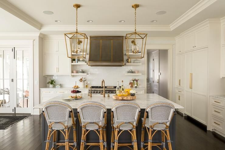 Serena Lily Riviera Counter Stools Sit At A Charcoal Gray Kitchen Island Topped With A White And Diy Kitchen Decor Marble Countertops Kitchen Kitchen Remodel
