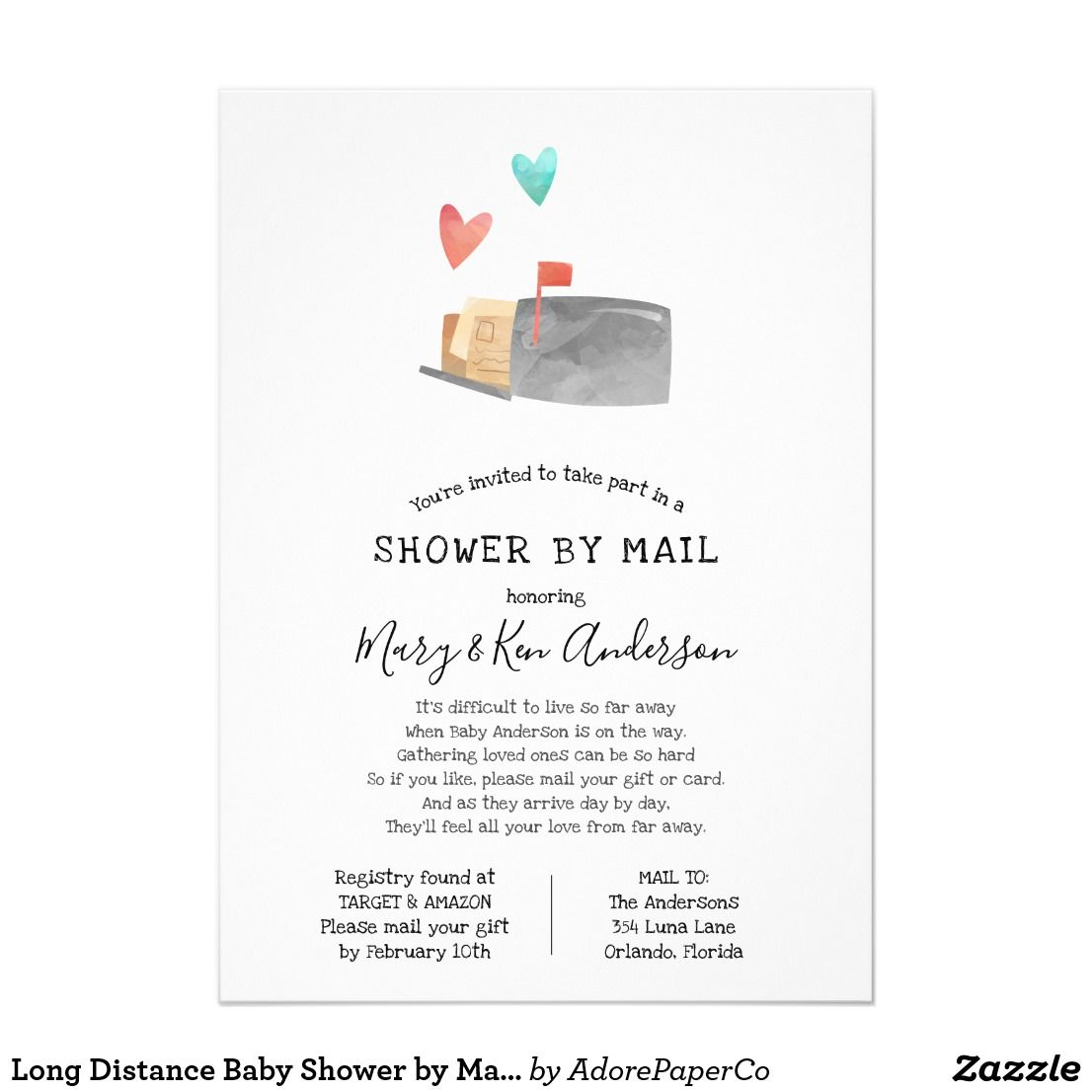 Long Distance Baby Shower By Mail Invitation Zazzle Com Long Distance Baby Shower Virtual Baby Shower Ideas Baby Shower Invitation Cards
