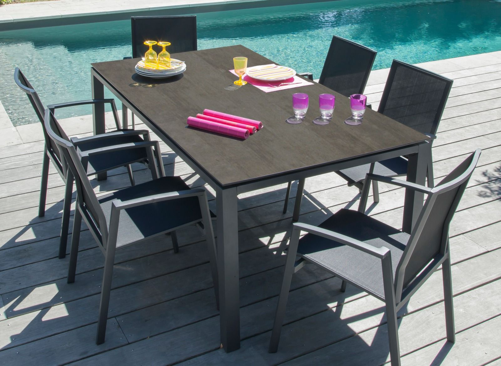 Ensemble table Stonéo Trespa® 180 cm + 6 fauteuils Palma ...
