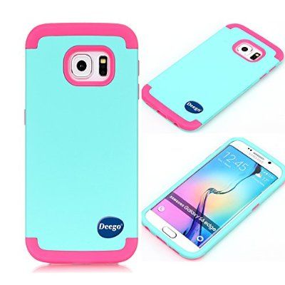 Galaxy S6 Edge Case,Nancy shop Ultra Slim Fit 3in1 Full-body Armor Series Premium Hybrid Impacts Shock proof Drop Protection Anti-Scratch Plastic Hard and Soft-Interior Protective Cover(Teal pink)
