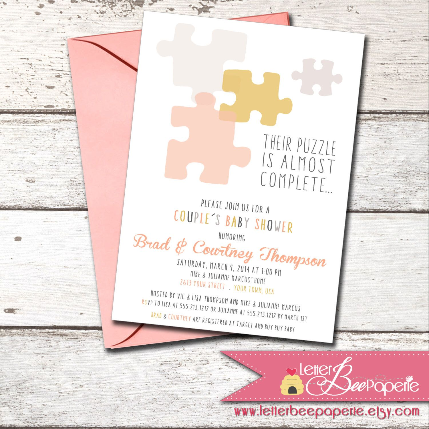 Custom Puzzle Baby Shower Invitation - 4 Color Choices Baby Sprinkle ...