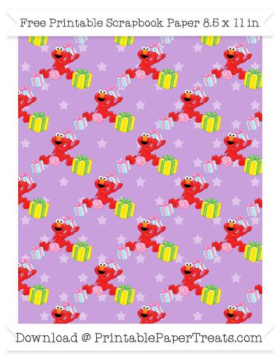 Free Wisteria Star Large Elmo Gifts Pattern Paper - Sesame Street