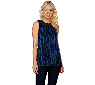 Lisa Rinna Collection Printed Knit Top with Sheer Neckline