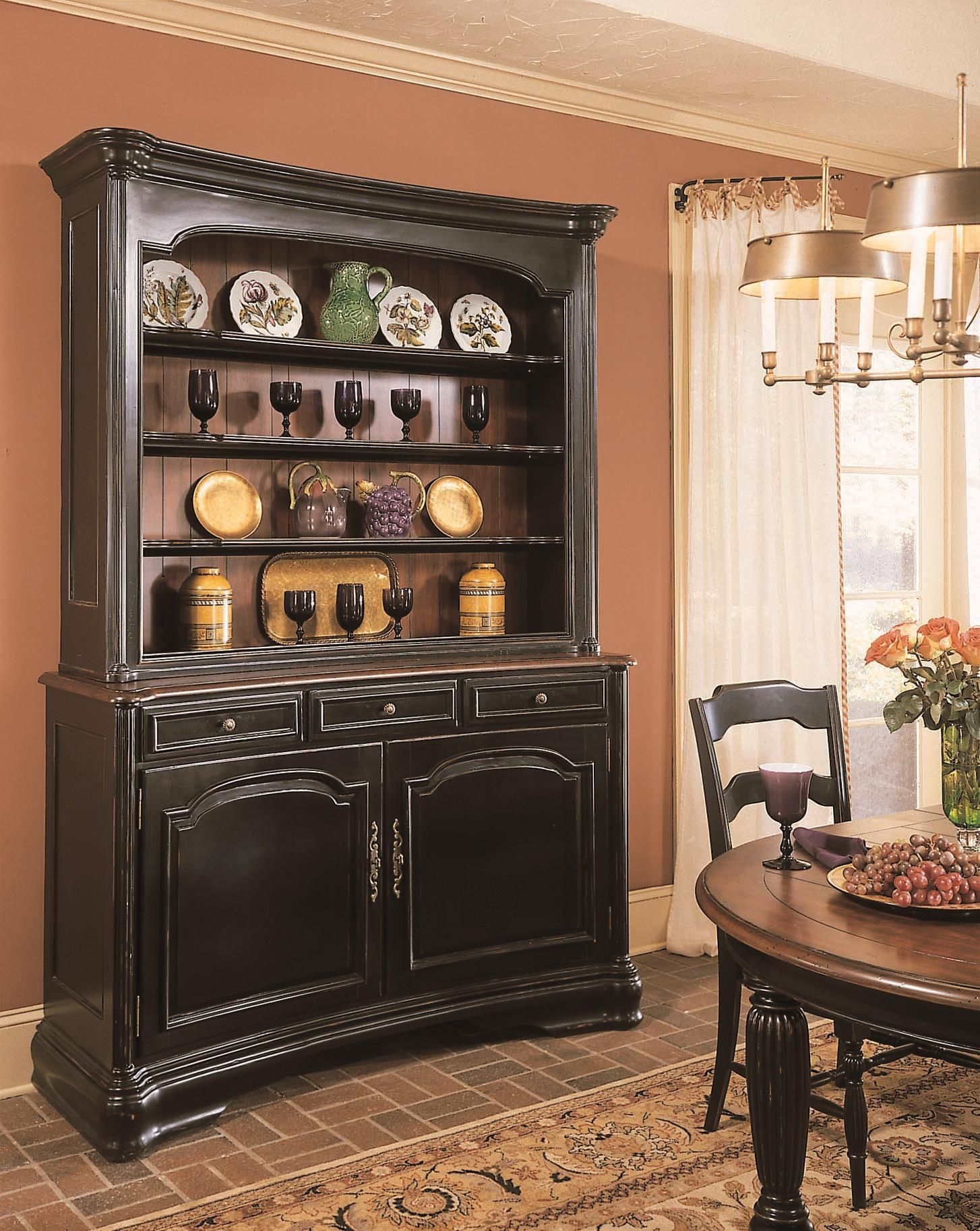 Perfect Duo Tone Finish For My Kitchen Hutch Hooker Furniture Inspiration Black China CabinetsDining Room HutchDining RoomsDistressed