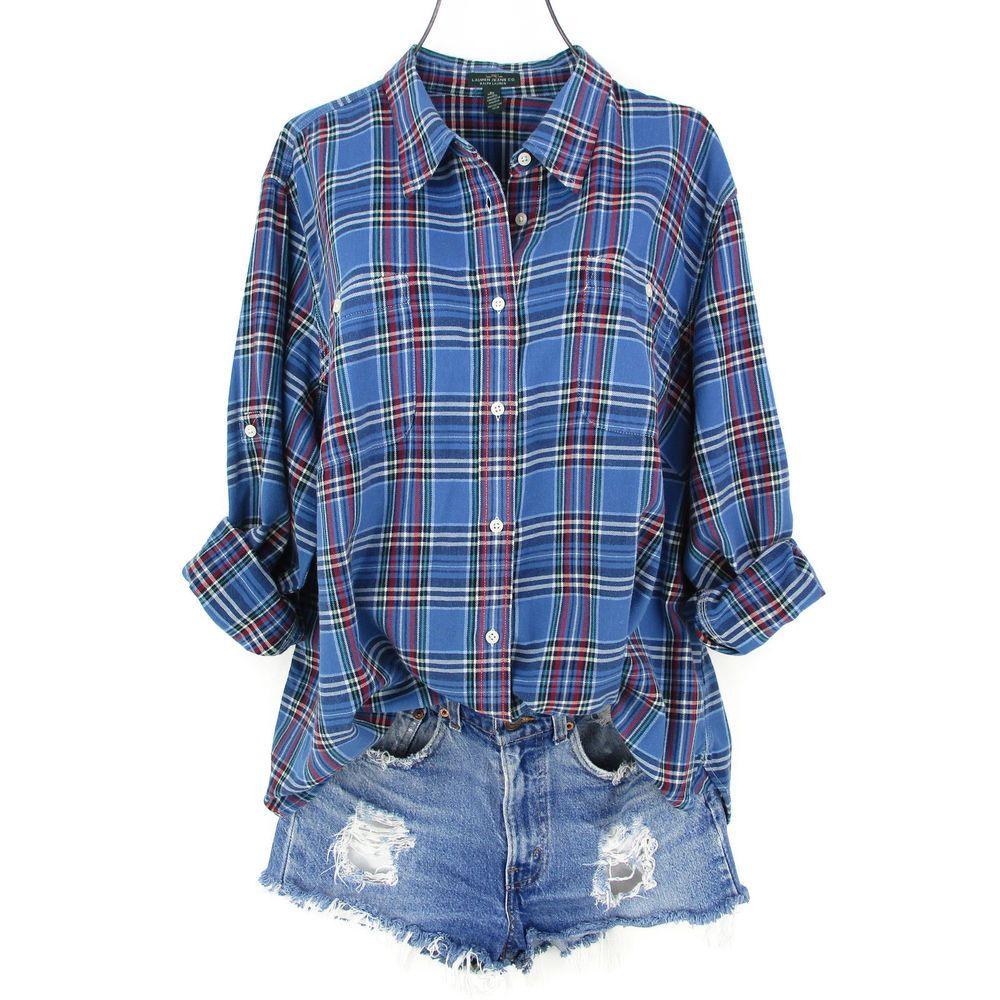 Ralph Lauren X Shirt Womens Plus Size Blue Flannel Plaid Top Button