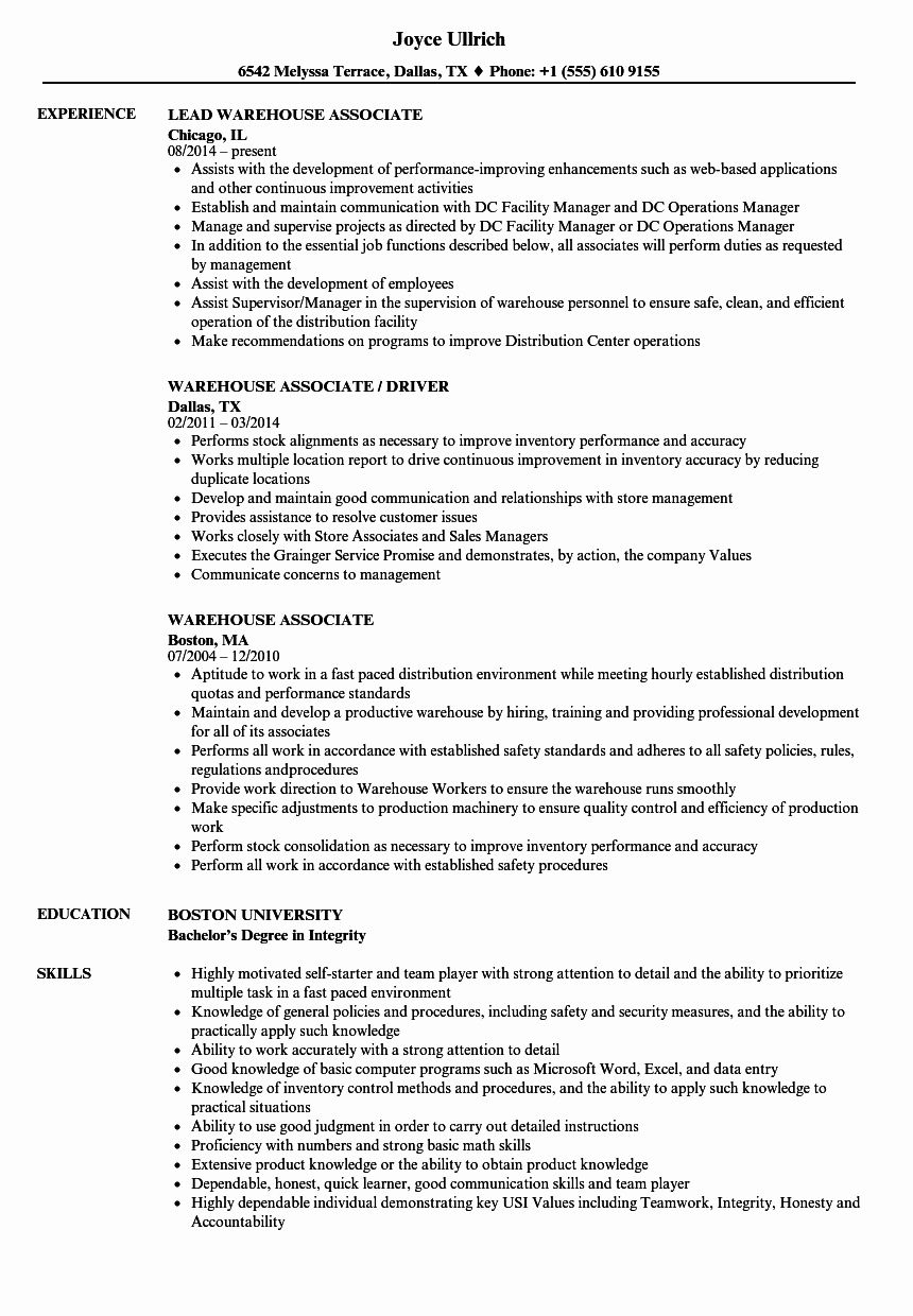 Warehouse Job Description Resume New Warehouse associate