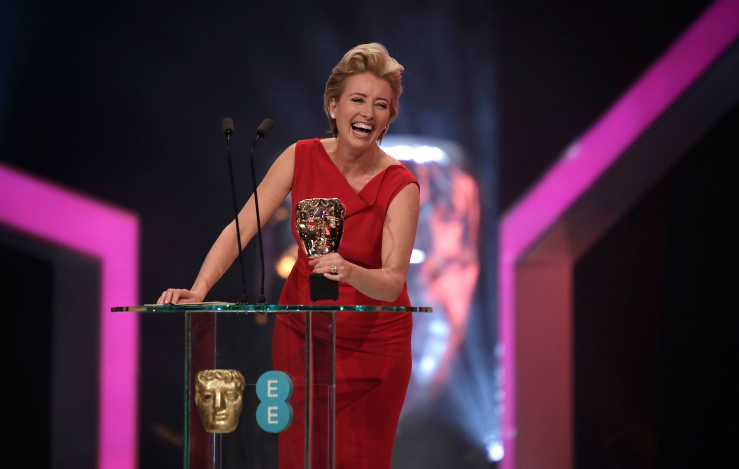Emma Thompson presents the BAFTA Film Award for Supporting Actor