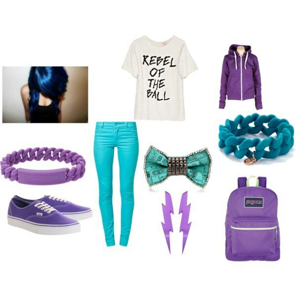 """""""Rebel of the ball"""" outfit with different shades of blue and purple."""