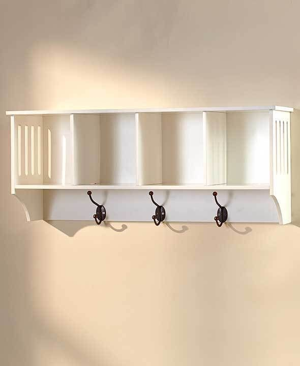 White Wall Shelf 4 Cubby Shelf With Coat Hooks Great Entry Shelf For Above Bench Unbranded White Wall Shelves Entryway Wall Shelf Shelves