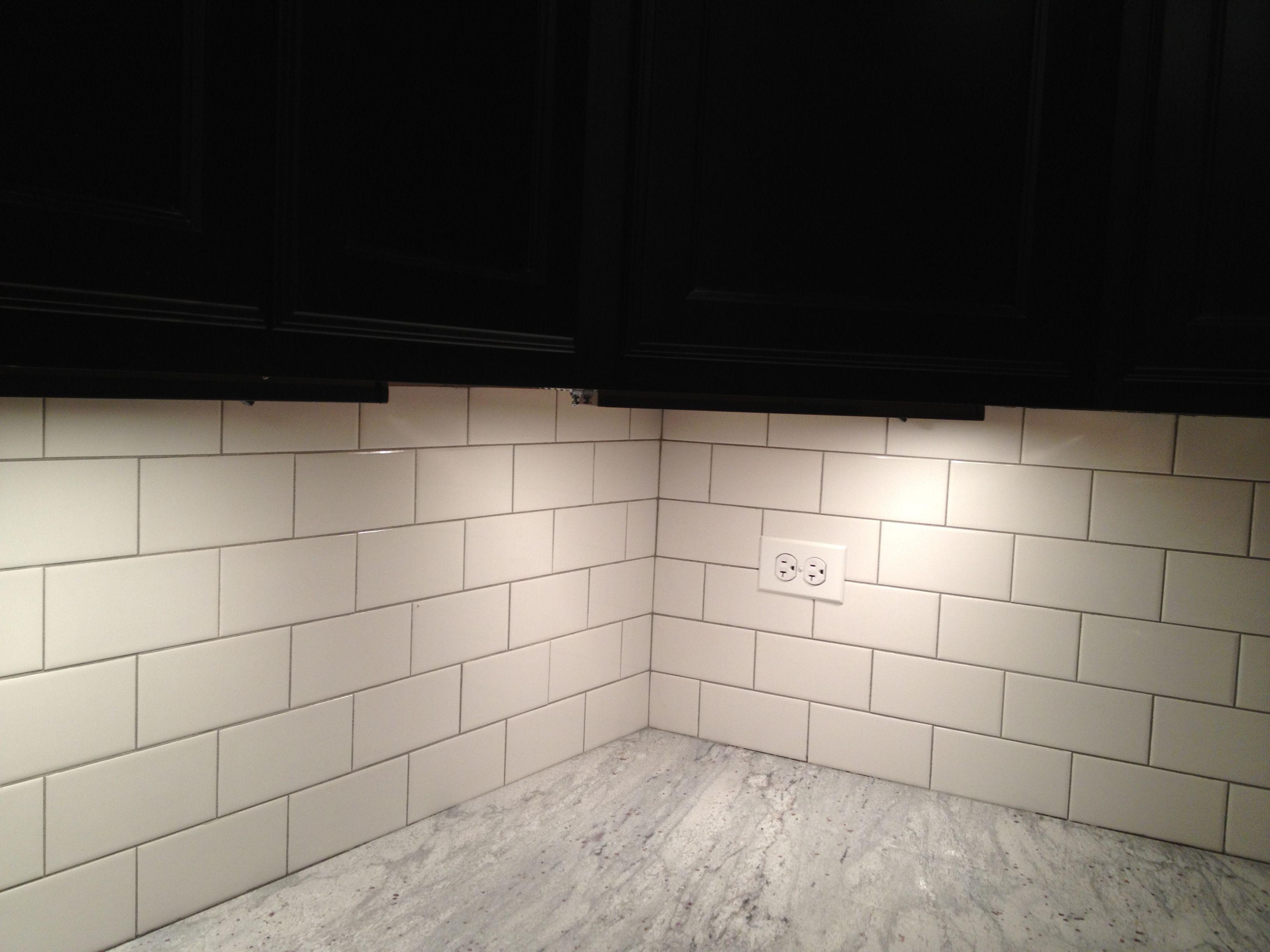 Light Gray Grout With Brick Pattern White Subway Tile Back Splash