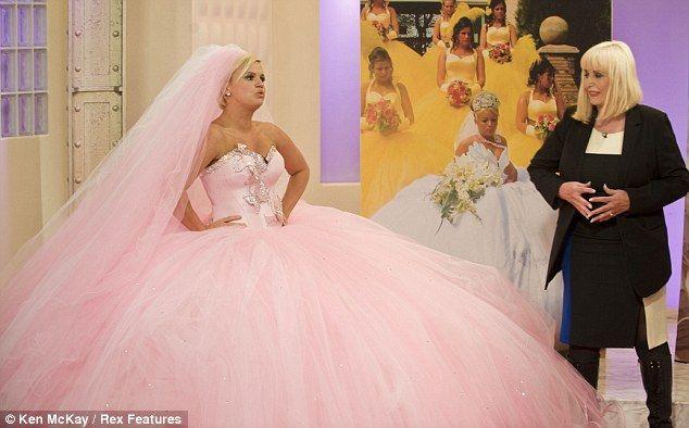 Twice Divorced Kerry Katona Tries On A 9st Big Fat Gypsy Wedding Dress For Size