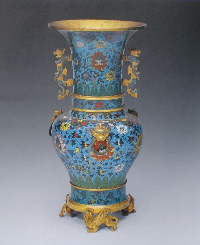 Three eared cloisonne wine vessel with lotus flowers and leaves