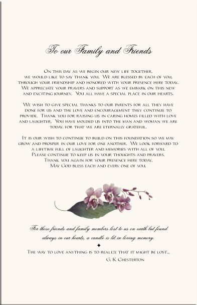 Wedding Programs  Orchid Wedding Program ExamplesWedding Program