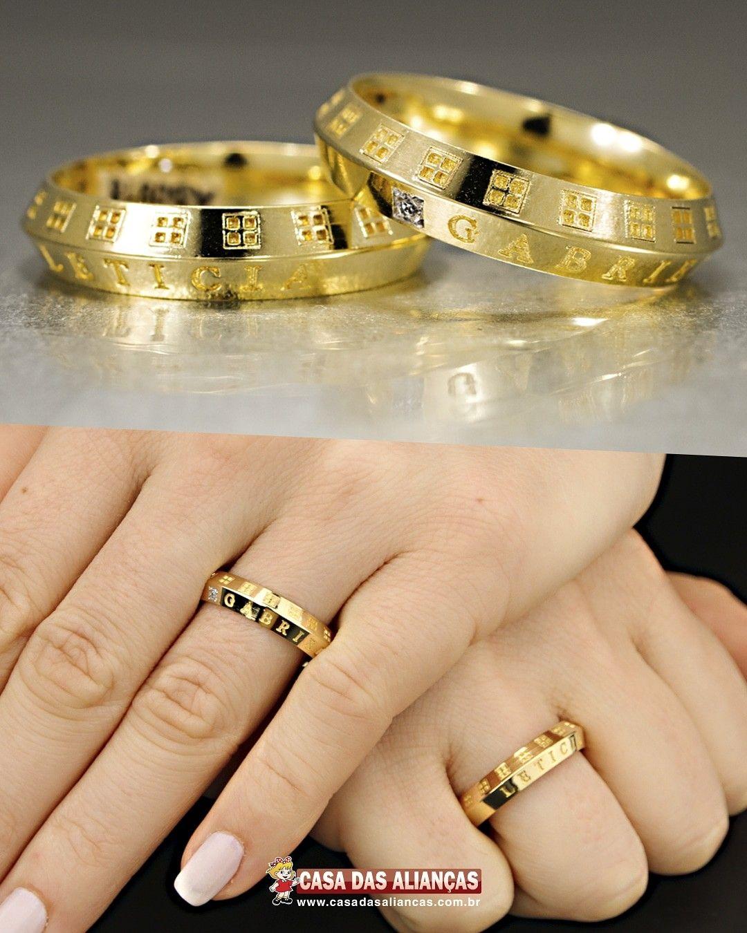 Alianca De Ouro Noivado Anatomica E Diamantes As0917 As0918 Em