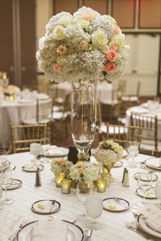 idee deco centre de table mariage en hauteur en hortensias et roses