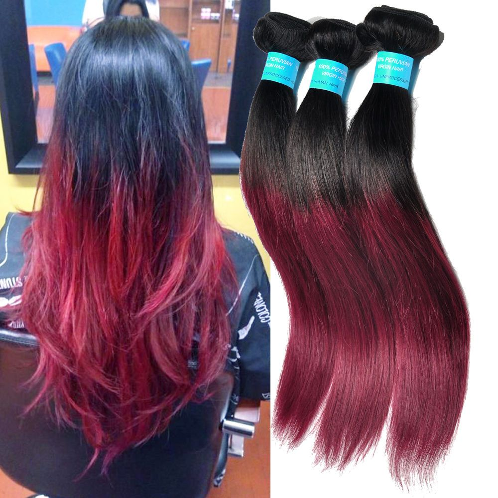 PERUVIAN OmBRE HUMAN HAIR Color 1B BURG STRAIGHT