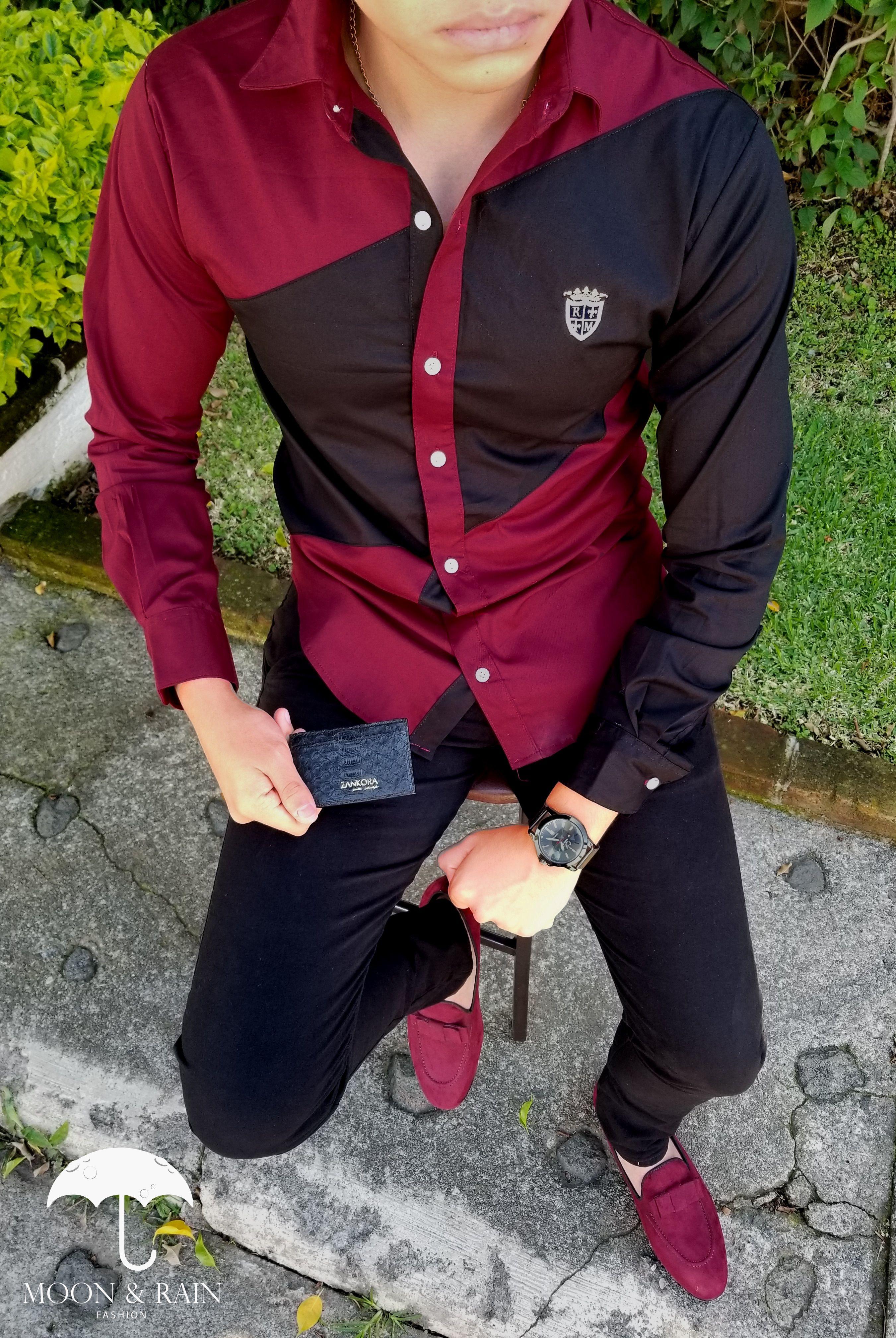 2b4e6cf5b2036 Camisa Slim Fit Roja de Franja Negra