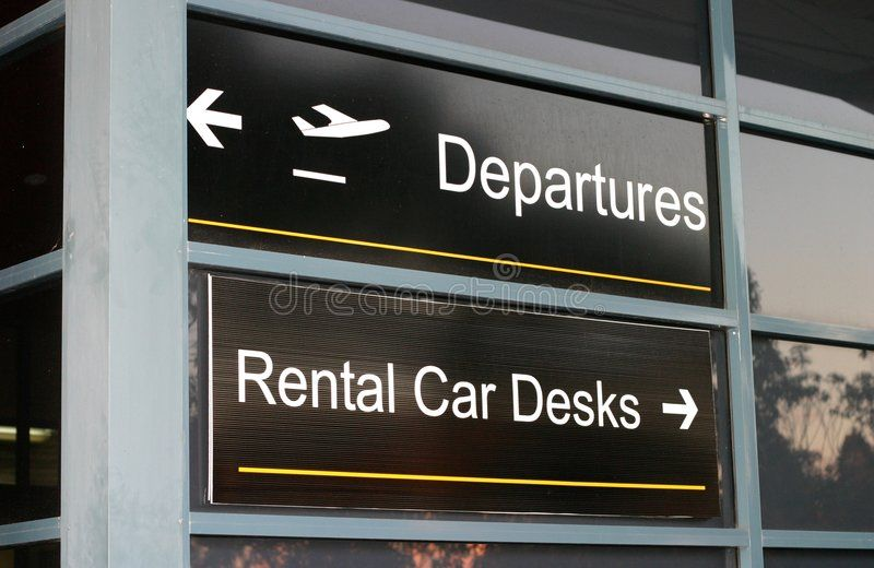 Airport Signs. Departures and rental cars , sponsored,