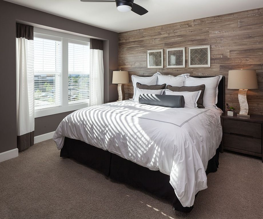 Contemporary Master Bedroom With Ceiling Fan, High Ceiling