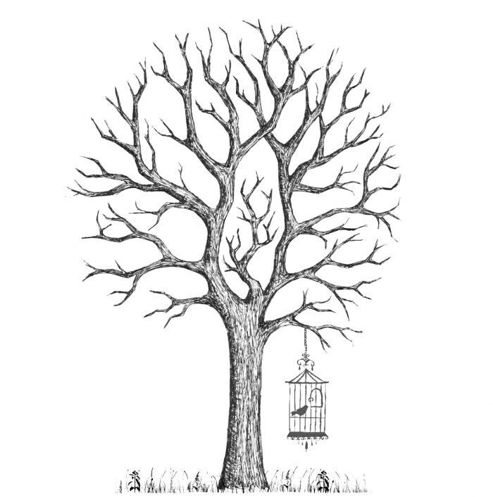 1001 exemples conseils et id es pour cr er un arbre empreinte mariage diy diy - Dessin oiseau en cage ...
