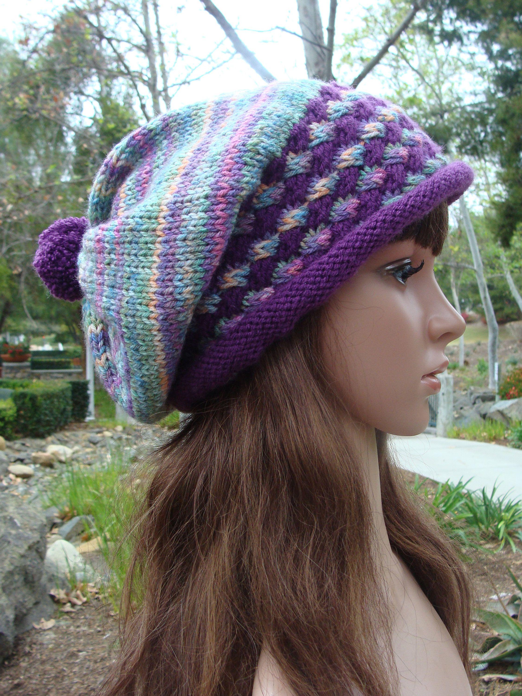 9173165a4f1 Ready to Ship  Hand knit hat with Pom-pom