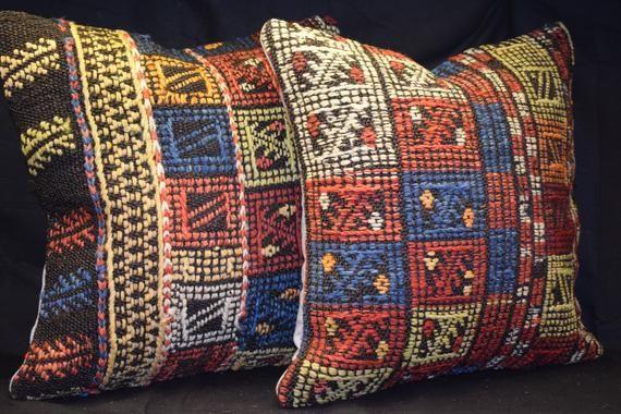 Cicim kilim set pillow,embroidery work kilim pillow,vintage kilim pillow,sofa set pillow,home decorative pillow,rug handwven pillow set-8