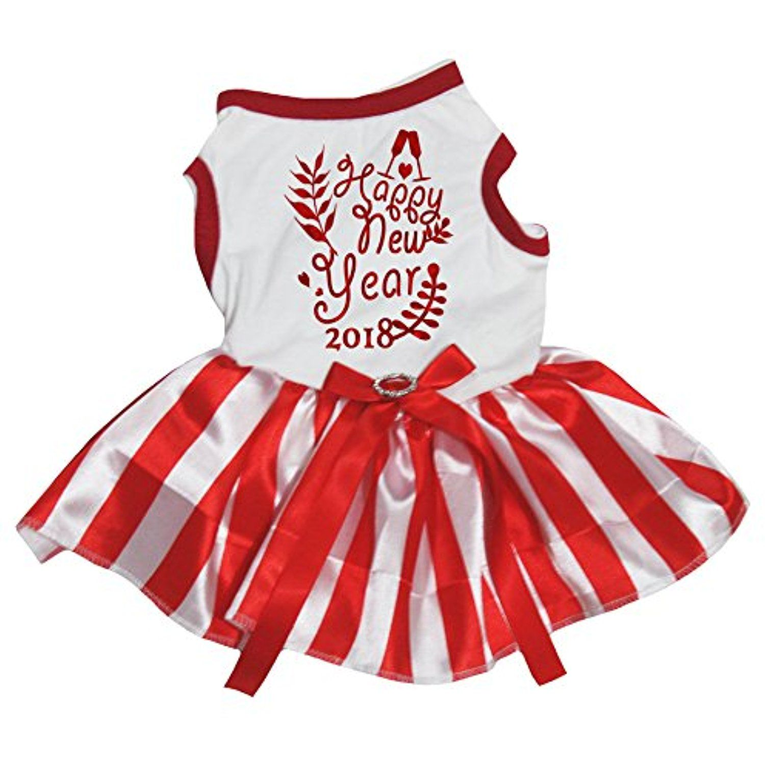 Petitebella Puppy Clothes Dog Dress New Year 2018 White Top Red Striped Tutu (Small) >>> More info could be found at the image url. (This is an affiliate link) #Dogs