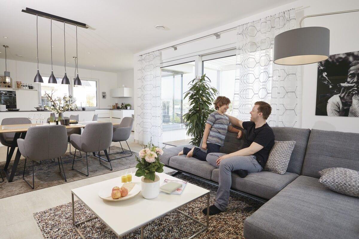 Offenes Wohnzimmer mit Esszimmer & Küche - Wohnideen Interior