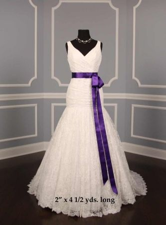 Dark Purple Sash Wedding Dress Discount Designer Wedding Dresses